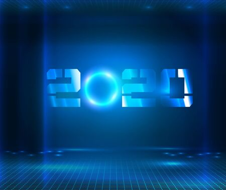 Dark futuristic Sci Fi big hall room with lights and circle shaped neon light. Hanging 2020 number year or digits. Digital computer technology conceptual holiday banner. Cyber new year 2020. Vector illustration Ilustrace