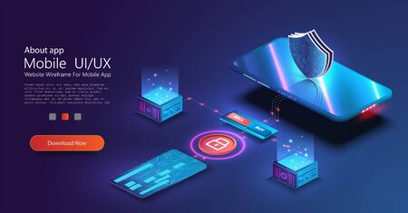 Isometric online payment online concept. Money transfers, smartphone payment services and digital pay. Credit card contactless terminals, protection money transfer, online bank. Vector illustration Иллюстрация