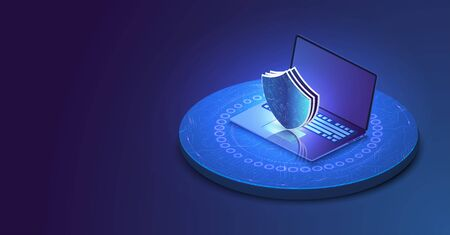Laptop with protected guard shield security concept. Security, privacy or other concept illustration or background. Isometric internet security.