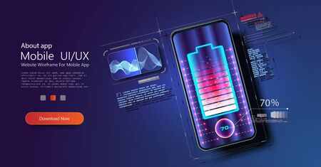 Futuristic phone is charged wirelessly on a blue background. Wireless charging. Wireless charging of the smartphone battery. Future concept. The progress of charging the battery of the phone. Vector illustration