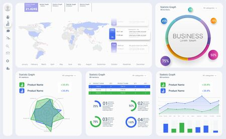 Dashboard, great design for any site purposes. Business infographic template. Vector flat illustration. Big data concept Dashboard user admin panel template design. Analytics admin dashboard Иллюстрация