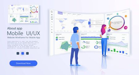 Online statistics and data Analytics. Digital money market, investment. Accounting and audit. Financial management. Budget and finance evaluation. Business vector landing page. Vector illustration