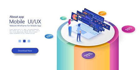 People in the team analyze diorams and graphics. Build a chart and graphs. Concept of the idea of innovative data analysis. Page template. 3d isometric illustration