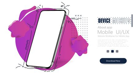 Smartphone frame less blank screen, rotated position. 3d isometric illustration cell phone. Smartphone perspective view. Template for infographics or presentation UI design interface. vector Иллюстрация