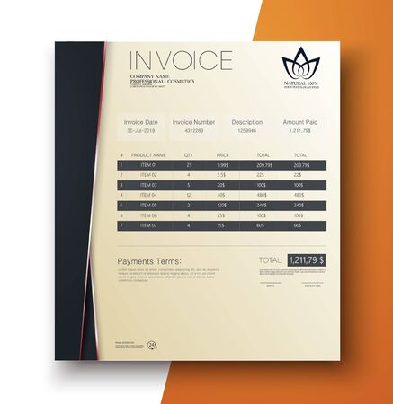 Modern invoice template design in minimal style. Vector illustration Иллюстрация