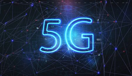 5G data flow high speed internet web telecommunication. Abstract global with wireless communication network on futuristic background. Mobile internet concept. 3D Vector illustration. Иллюстрация