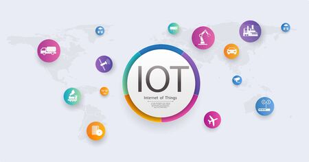 Internet of things IOT banner. Connectivity device concept network. Spider web of network connections on a white background.Wireless connections of information technology. Infographic template. Eps Vector Illustration