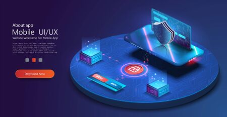 Mobile data security. Online payment protection system concept with smartphone and credit card. Digital security financial information and protection access bank account. Isometric vector illustration Иллюстрация