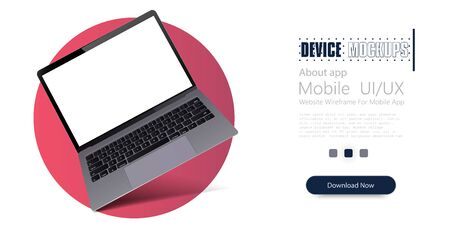 Laptop frame less blank screen, rotated position. 3D isometric illustration notebook. Mock up Laptop perspective view. Template for infographics or presentation UI design interface. Vector illustration Иллюстрация