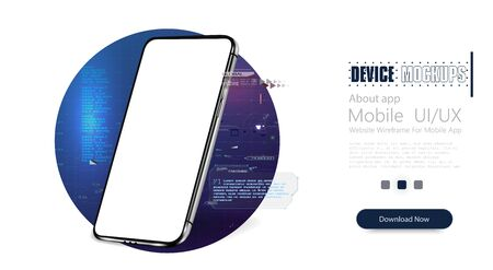 Smartphone frameless blank screen, rotated position. 3d isometric illustration futuristic cell phone. Abstract virtual HUD elements over screen modern smartphone. Vector illustration