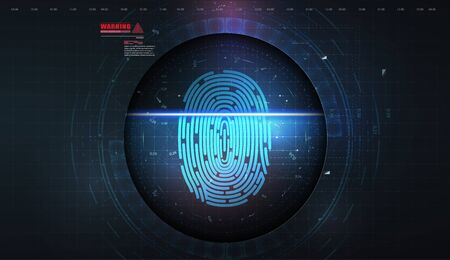 Security system concept with fingerprint. Scanning Identification System. Biometric Authorization and Security Concept. Abstract technology background. Vector illustration Иллюстрация