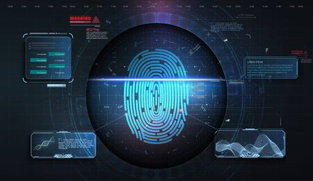 Cyber security concept. Fingerprint scanning on futuristic background. Abstract digital illustration. Network cyber technology. Connection science background. Technology concept vector design. Vector illustration