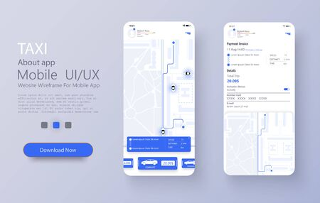 Taxi service app on mobile phone. Different UI, UX, GUI screens Taxi app and flat web icons for mobile apps. Concept of location service. Dashboard theme, creative infographic of city map navigation