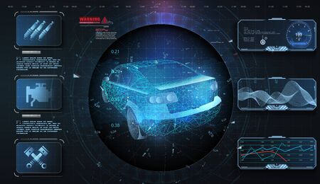 Hologram car style in HUD, UI, GUI. Hardware Diagnostics. Futuristic car service, scanning and auto data analysis. Car auto service, modern design, dagnostic auto. Virtual graphical interface. Vector illustration