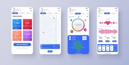 Different UI, UX, GUI screens fitness app and flat web icons for mobile apps, responsive website including. Web design and mobile template. Fitness interface design for mobile application. Vector illustration Иллюстрация