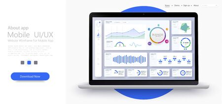 Dashboard, great design for any site purposes. Business infographic template. Vector flat illustration. Big data concept Dashboard user admin panel template design. Analytics admin dashboard. Blue Иллюстрация