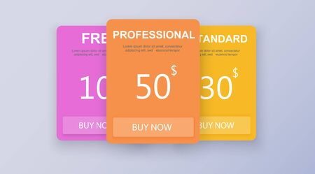 Price list, hosting plans and web boxes banners design. three tariffs. interface for the site. ui ux vector banner for web app. Vector illustration