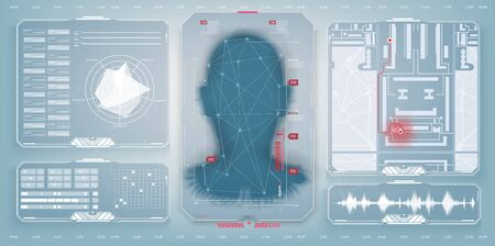 Biometric Identification or Recognition System of Person. The facial recognition technology. Authentication by facial recognition concept. Biometric. Security system. Set HUD, GUI. Vector illustration Иллюстрация