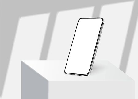 Smartphone frame less blank screen, rotated position. 3d isometric illustration cell phone. Smartphone perspective view. Window frames overlays shadows. Template for infographics or presentation 3D Иллюстрация