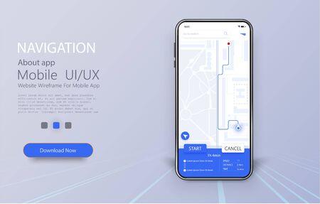 Smartphone con mapa y localización de navegación en pantalla. Pantalla de interfaz de usuario, UX y GUI de la aplicación móvil en línea. Concepto de navegación GPS, Smartphone con mapa de la ciudad. Ilustración vectorial Ilustración de vector