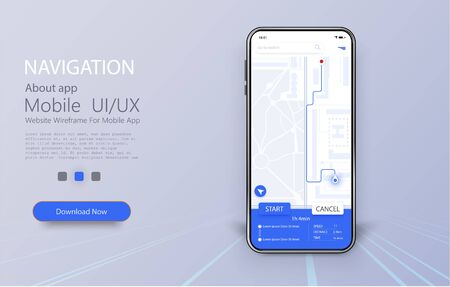 Smartphone with map and navigation pinpoint on screen. Online Mobile App UI, UX and GUI Screen. GPS navigation concept, Smartphone with city map. Vector illustration