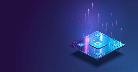 Processeur à puce futuriste avec des lumières sur fond bleu. Ordinateur quantique, traitement de données volumineuses, concept de base de données. Bannière isométrique du processeur. Concept d'unité centrale de traitement de processeurs d'ordinateur central. Puce numérique Vecteurs
