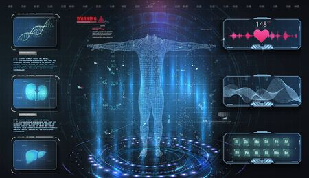 Medical examination in style HUD, UI, UX, GUI. Medical Health Care Human Virtual Body Hi Tech Diagnostic Panel. Modern medical science in future. Virtual Body Hi Tech Diagnostic Analysis clone DNA.
