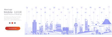 Smart city concept with different iot icon. Connected devices and objects. Illustration of innovations and Internet of things. Smart city. Thin line cityscape with skyscrapers. City panorama. Vector illustration Stock Illustratie