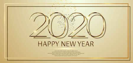 Happy New Year 2020 text design. Vector greeting illustration with golden numbers and fireworks. Party poster, banner or invitation gold glittering stars falling snowflakes glitter decoration. xmas Иллюстрация