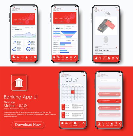 Banking App UI Kit for responsive mobile app or website with different GUI layout including home page, payment information, ratings and statistics. Online payment. Vector flat stock