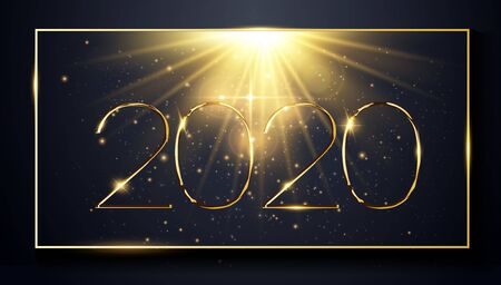 NYE New Year Eve 2020. Happy New Year 2020 winter holiday greeting card design template. Party poster, banner or invitation gold glittering stars falling snowflakes glitter decoration. xmas, vector Illusztráció