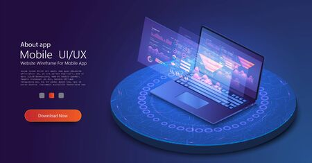 Application of laptop with business graph and analytics data on isometric laptop . Analysis trends and financial strategy by using infographic chart. Online statistics and data Analytics. Vector illustration