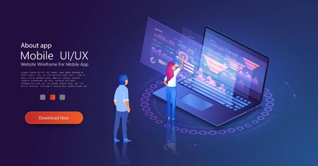 Data analysis concept with characters. Data visualization concept. Financial analytic and business infographic elements on screen laptop. Can use for web banner, infographics. Flat isometric vector Иллюстрация