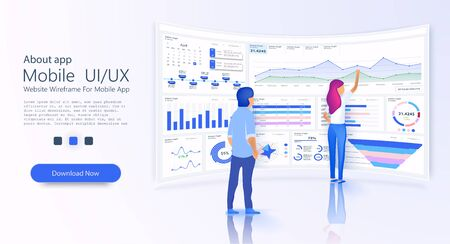 People interacting with admin panel charts and analyzing statistics. Data visualization concept. Landing page template concept. Business infographic template. 3D isometric vector illustration.