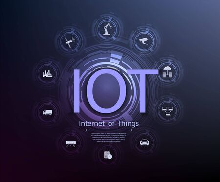 Internet of things IoT and networking concept for connected devices. Spider web of network connections with on a futuristic blue background Stock Illustratie