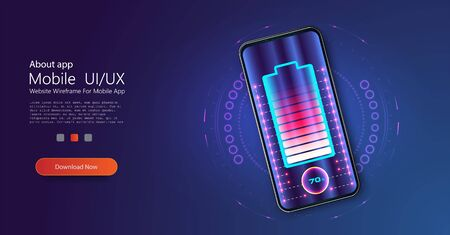 Wireless charging of the smartphone battery. Future concept. The progress of charging the battery of the phone.Wireless charging technology concept on blue background