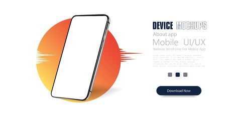 Smartphone frame less blank screen, rotated position. 3d isometric illustration cell phone. Smartphone perspective view. Template for infographics or presentation UI design interface. Trendy gradient.