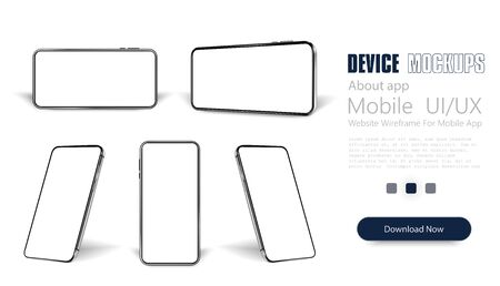 Smartphone frame less blank screen, rotated position. Smartphone from different angles. Mockup generic device. Vector smartphones set.Template for infographics or presentation 3D realistic phones.