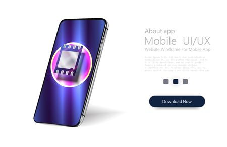eSIM card chip sign. Embedded SIM concept. New mobile communication technology. Futuristic projection sim card Vector illustration Иллюстрация