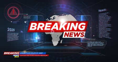 Banner Breaking news. Breaking news live on world map background. Graphical Modern World News. Abstract digital world background. Technology futuristic background. HUD style. Vector illustration Иллюстрация