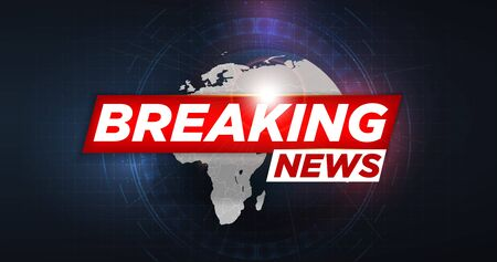 Breaking news. Breaking news live on world map background. Graphical Modern World News. Abstract digital world background. Technology futuristic background. HUD style. Vector illustration.