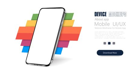 Smartphone frame less blank screen, rotated position. 3d isometric cell phone. Smartphone perspective view. Template for infographics or presentation UI design interface. Trends color, Colorful.Vector illustration