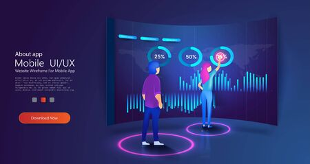 People interacting with charts and analyzing statistics. Digital money market, investment, finance. Perfect for web design, banner and presentation. Isometric vector illustration.