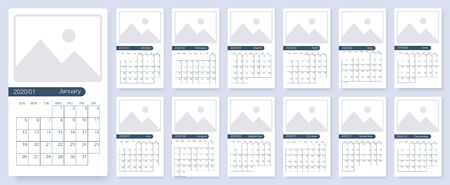 Calendar 2020 template planner vector new year calendar in clean minimal table simple style and blue white color. Set of 12 calendar pages vector design print template with place for photo.