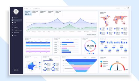 Dashboard, great design for any site purposes. Business infographic template. Vector flat illustration. Big data concept Dashboard user admin panel template design. Analytics admin dashboard. UI UX