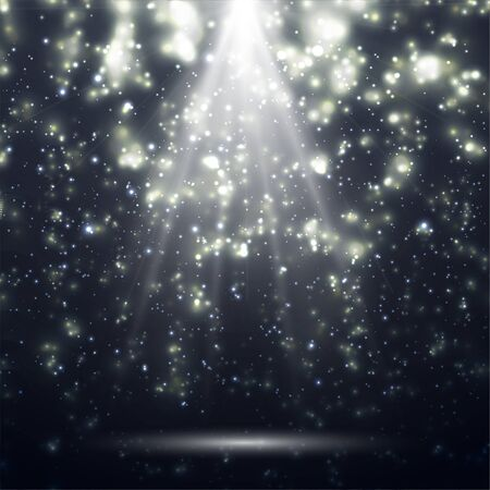 White spotlights. Light Effects. Realistic falling snowflakes. Bright white flashes and glares. Bright rays of light. Glowing lines. Vector illustration.