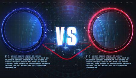VS, Versus futuristic design. Battle headline template. Futuristic abstract technology background. HUD, UI, GUI Menu User Interface. Square rames blocks. Sci-fi concept design. Vector