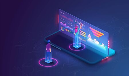 Online statistics and data Analytics.Digital money market, investment, finance and trading. Perfect for web design, banner and presentation. Isometric vector Иллюстрация