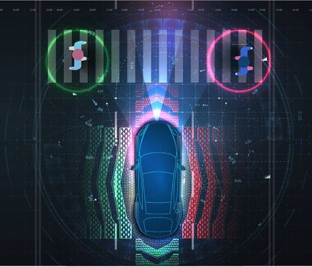 Automatic braking system avoid car crash from car accident. Driverless or self driving car at road. Futuristic autonomous vehicle remote sensing system. Transport with wireless signal. Autopilot. eps