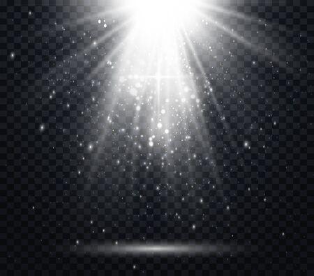 White spotlights. Light Effects. Realistic falling snowflakes. Vector illustration Иллюстрация